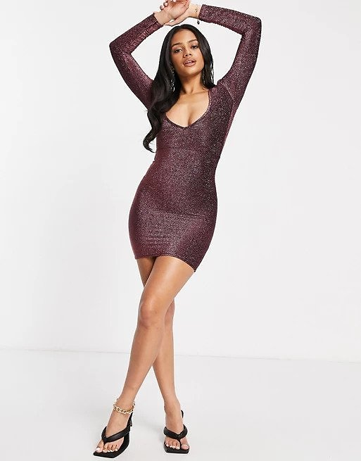 Fashionkilla Glitter Plunge Front Mini Body-conscious Dress with Ruched Bum Detail in Rose