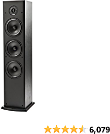 Polk Audio T50 150 Watt Home Theater Floor Standing Tower Speaker (Single, Black) - Hi-Res Audio with Deep Bass Response | Dolby and DTS Surround