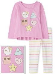 $4.59 Toddler  Girl Shapes & Striped Outfit Set + Free Shipping