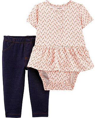 Baby Girls 2-Piece Peplum Bodysuit Pant Set