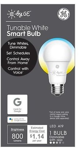 GE C By GE Smart Tunable 60-Watt EQ A19 Soft White Dimmable Smart LED Light Bulb