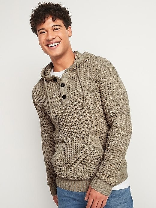Textured Waffle-Stitch Henley Sweater Hoodie for Men | Old Navy