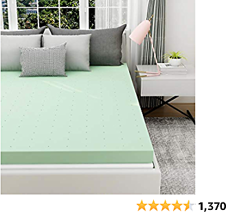 Milemont Mattress Topper California King, 3 Inch Gel Infused Memory Foam Cushioning Green Tea Mattress Topper Pad for CK Bed