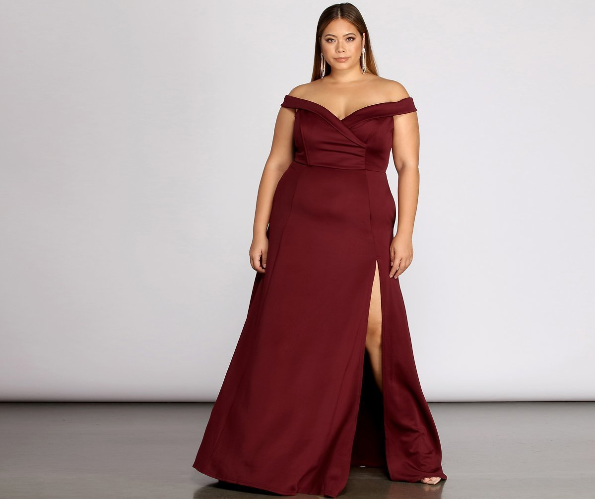 Plus Lucy Formal High Slit Dress