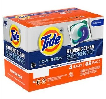 Tide Power Pods Hygienic Clean HE Laundry Detergent Pods,17-count, 4-pack