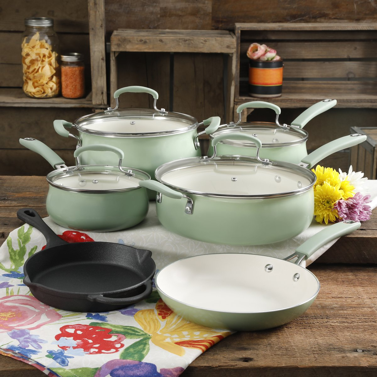The Pioneer Woman Classic Belly 10 Piece Ceramic Non-stick and Cast Iron Cookware Set, Mint