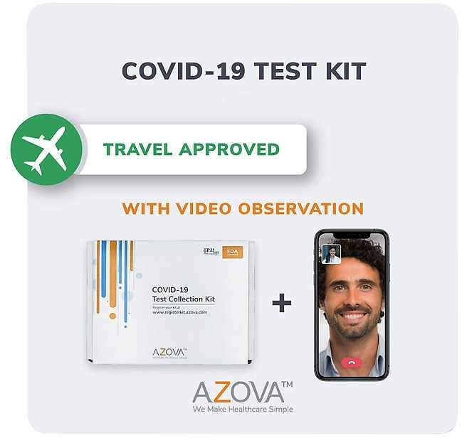 Covid-19 Saliva PCR Test Kit with Video Observation for Travel, By Azova
