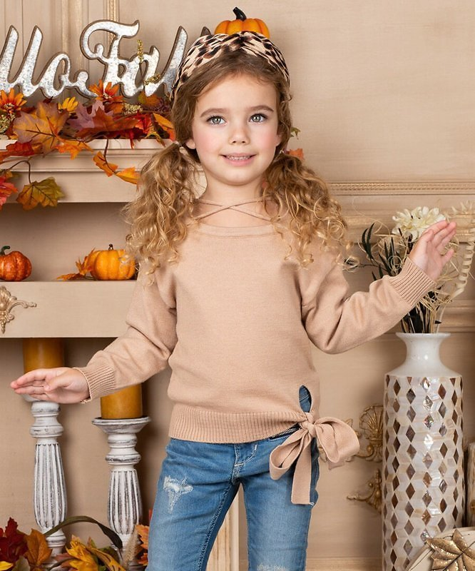 Beige Knot-Tie Banded Sweater - Toddler & Girls