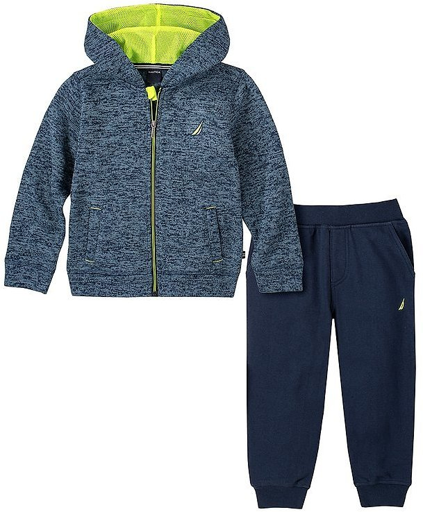 Blue & Lime Green Marled Zip-Up Hoodie & Navy Joggers - Boys