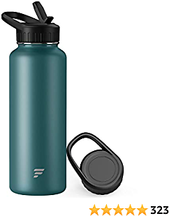 Letsfit Insulated Water Bottle with Wide Mouth Straw Lid & Handle Lid, Vacuum Stainless Steel Flask Multiple Sizes and Colors