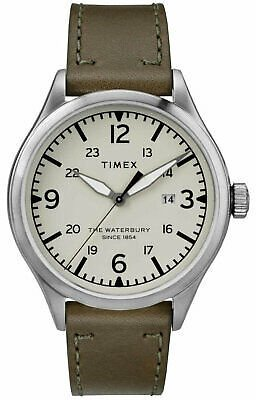 Timex Men's Watch Waterbury Quartz Cream Dial Green Leather Strap TW2R71100 753048792283