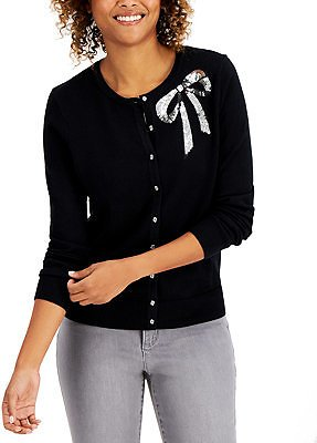 Charter Club Sequined-Bow Button Cardigan, Created for Macy's & Reviews - Sweaters - Women