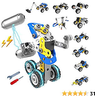 Building Toys, 10 in 1 Motor Powered 113 PCS DIY Stem Vehicle Construction Engineering Toy Set for Kids Boys Girls 5 6 7 8 9 10+ Year Old