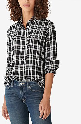 Lucky Brand Relaxed Flannel Plaid Shirt & Reviews - Tops - Women
