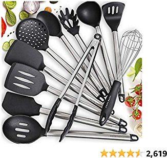 5% OFF Coupon Home Hero 11 Silicone Cooking Utensils Kitchen Utensil Set - Stainless Steel Silicone Kitchen Utensils Set