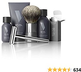 Shaving Kit for Men By Bevel - Starter Shave Kit, Includes Safety Razor, Shaving Brush, Shave Creams, Oil, Balm and 20 Blades. Clinically Tested to Help Prevent Razor Bumps