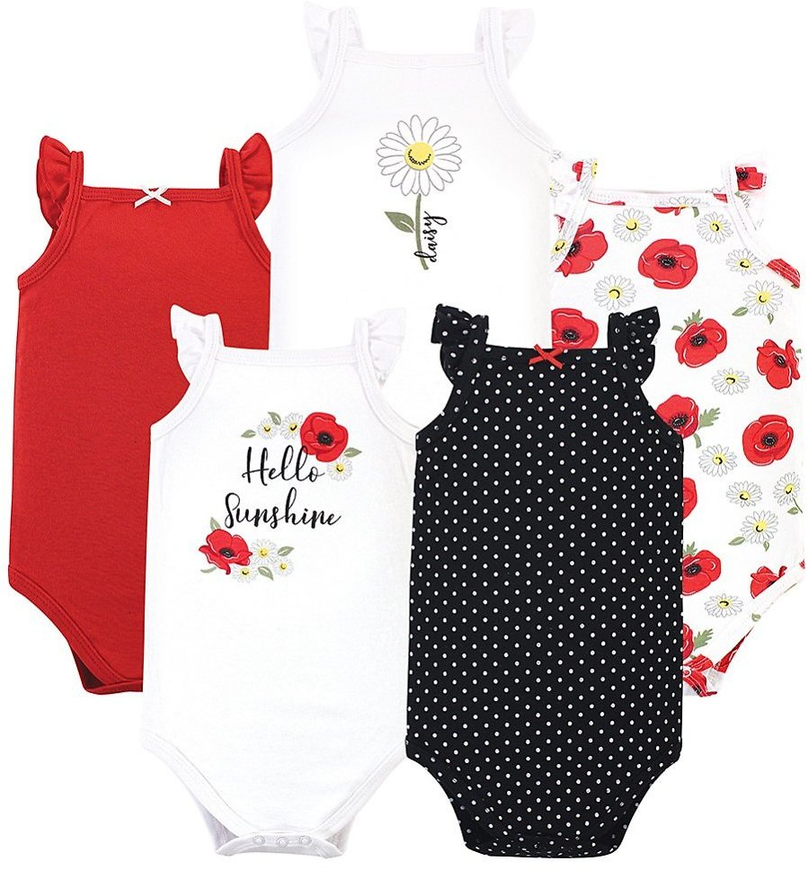 Love This Product White 'Hello' Poppy & Daisy Ruffle Sleeveless Bodysuit Set - Newborn & Infant
