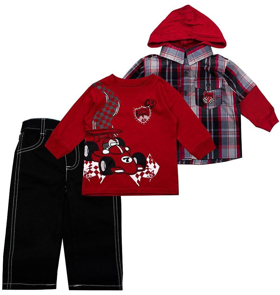 Love This Product Red Racecar Long-Sleeve Crewneck Tee & Red Hooded Layered Top Set - Infant & Toddler