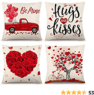 YGEOMER Valentine Pillow Covers 18×18 Inch Set of 4 Valentine's Day Throw Pillow Covers Holiday Anniversary Wedding Cushion Pillow Case for Sofa Couch Valentine's Day Decorations Throw Pillow Cover