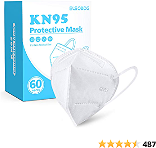 KN95 Face Masks (60pcs White), BLScode Individually Wrapped 5-Layer Breathable Cup Dust Mask with Comfortable Elastic Ear Loops, Filter Efficiency≥95%, Suitable for Home, Office, Outdoor
