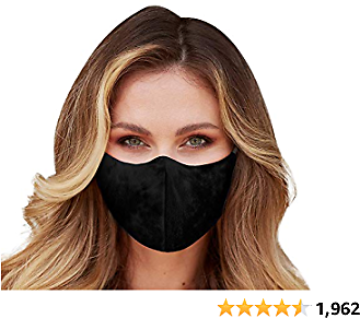 Washable Face Mask with Adjustable Ear Loops & Nose Wire - 3 Layers, 100% Cotton Inner Layer - Cloth Reusable Face Protection with Filter Pocket - Made in USA - (Solid Black)