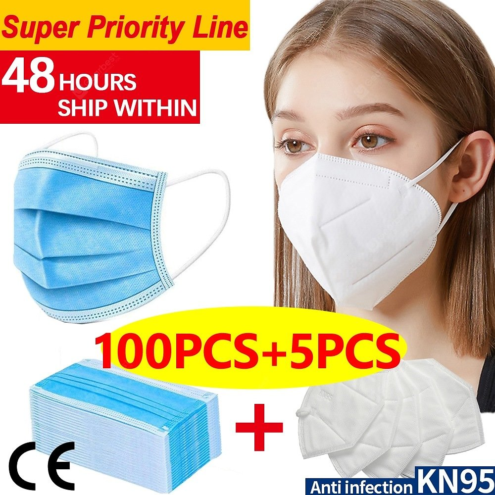 100pcs-5pcs N95 KN95 Disposable Face Masks 4-layer Non-medical Anti-pollution Protection FAST SHIP Sale, Price & Reviews | Gearbest