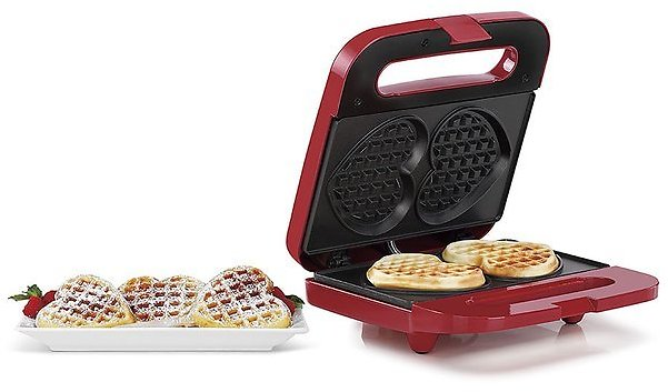 Red Double Heart-Shaped Waffle Maker
