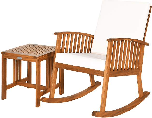 Acacia Wood Patio Rocking Chair & Coffee Table