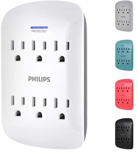 Philips 6-Outlet Surge Protector Tap, 900 Joules