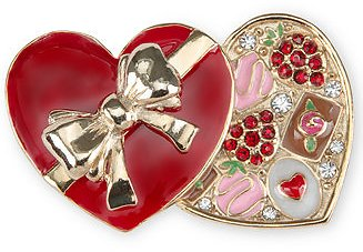 Charter Club Gold-Tone Pavé Chocolate Heart Box Pin, Created for Macy's & Reviews - Fashion Jewelry - Jewelry & Watches