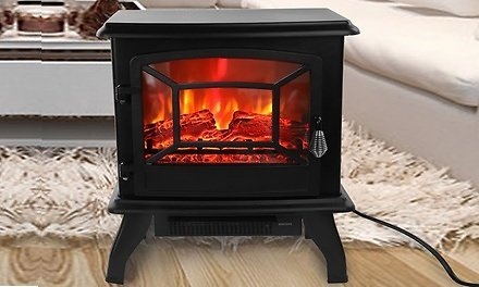 1400W Electric 68-95F Knob Control Standing Flame Stove Fireplace Heater