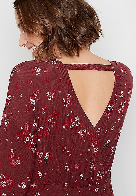 Berry Floral Twisted Lace Bar Back Rib Tunic Top