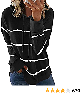 21% OFF Biucly Womens Casual Hoodie Striped Printed Sweatshirts Long Sleeve Drawstring Pullover Tops Shirts