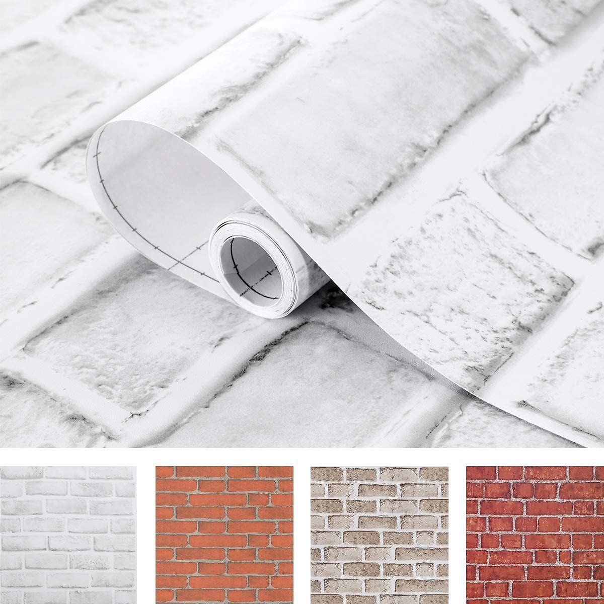 Coavas White Brick Wallpaper 17.7x314.9 Inches Self-Adhesive Peel and Stick Paper Christmas Decorative Faux Brick Printed Stick