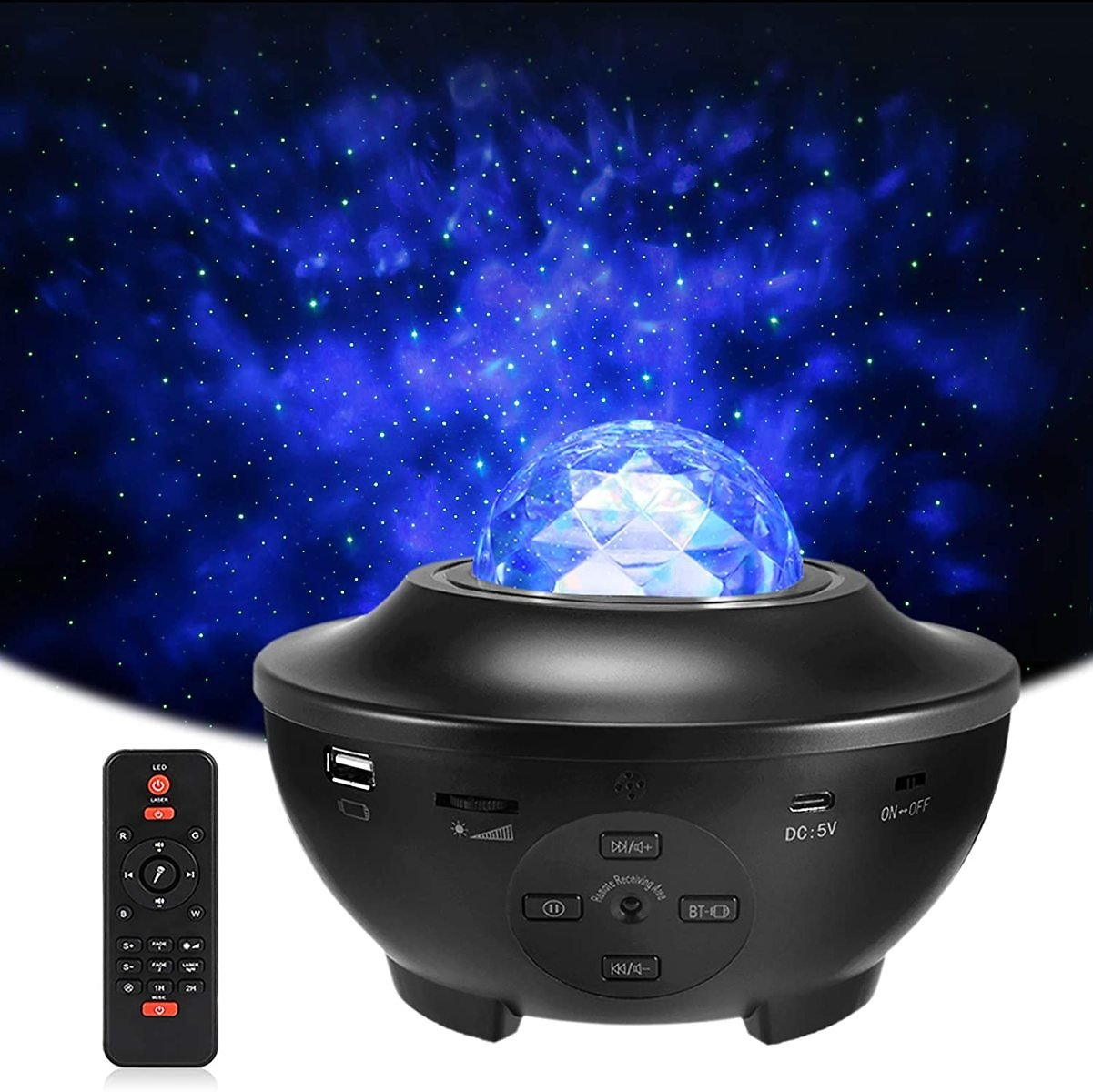 Star Projector Night Light, Delicacy Sky Ocean Wave Starry Projector with Bluetooth Speaker,Rotating LED Nebula Cloud Light for