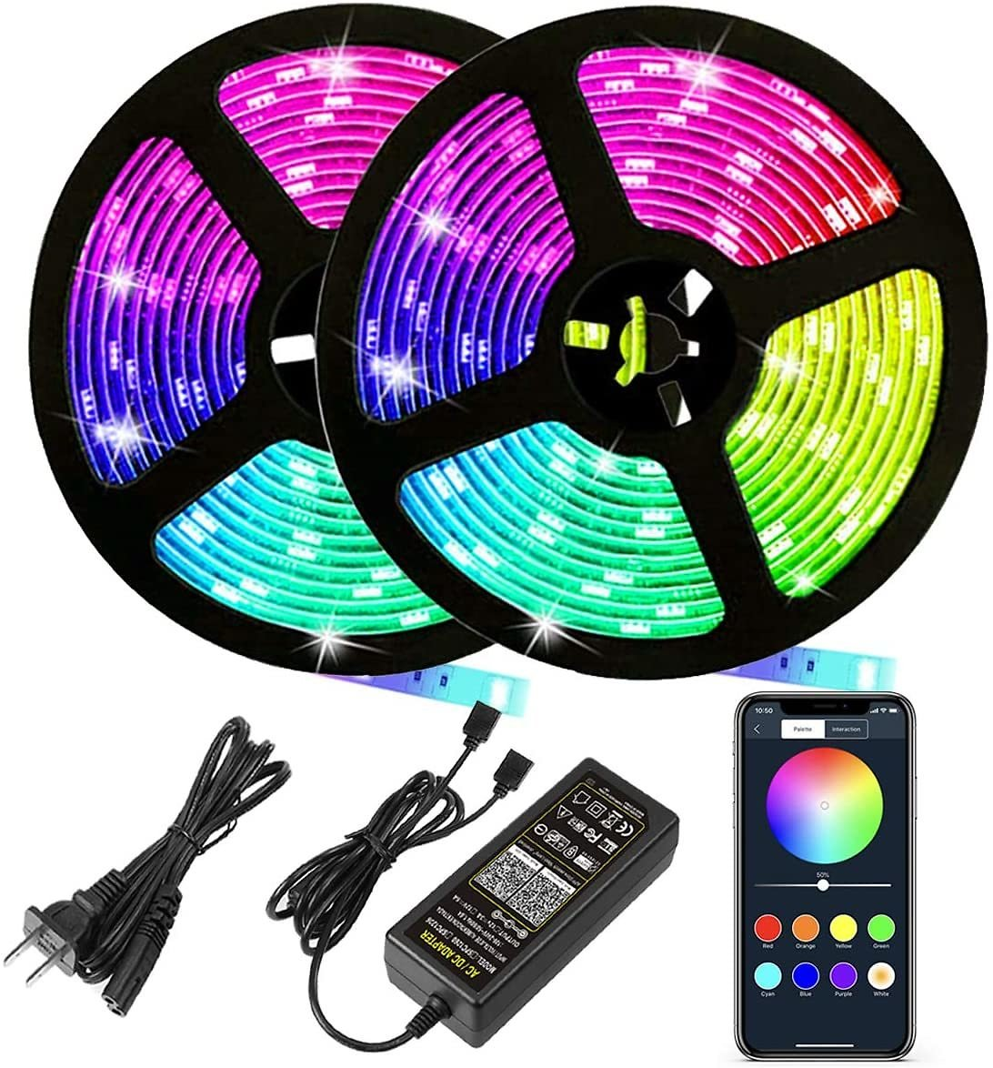 Autai LED Strip Lights 32.8Ft(10m) 600leds,Waterproof RGB Color Changing Rope Lights with Smart Bluetooth Light Strip Sync to Mu
