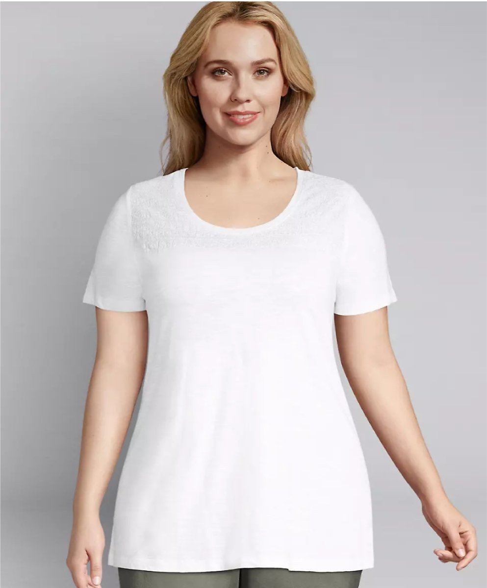 Embroidered-Yoke Swing Tee | Lane Bryant