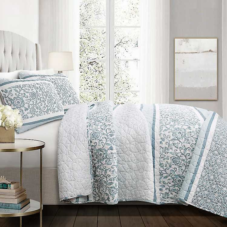 Blue Nisha Floral King 3-pc. Quilt Set