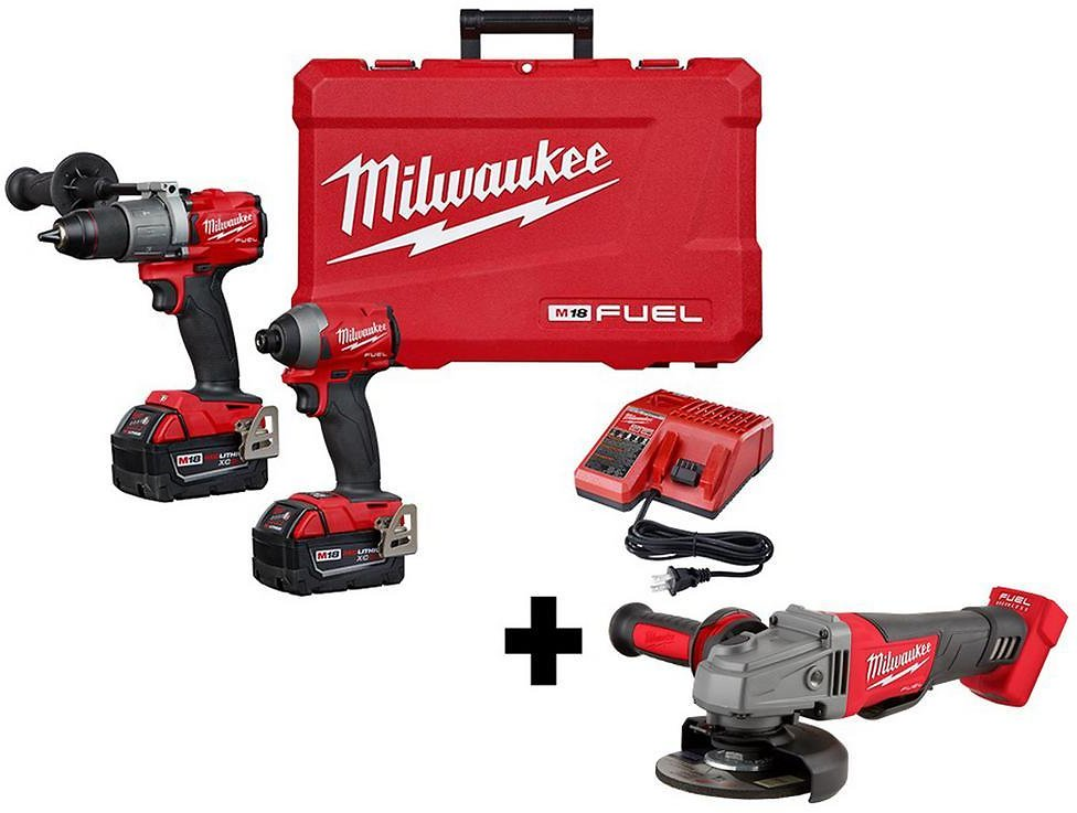 Milwaukee M18 FUEL 18-Volt Lithium-Ion Brushless Cordless Hammer Drill and Impact Driver Combo Kit (2-Tool) With Grinder-2997-22-2780-20