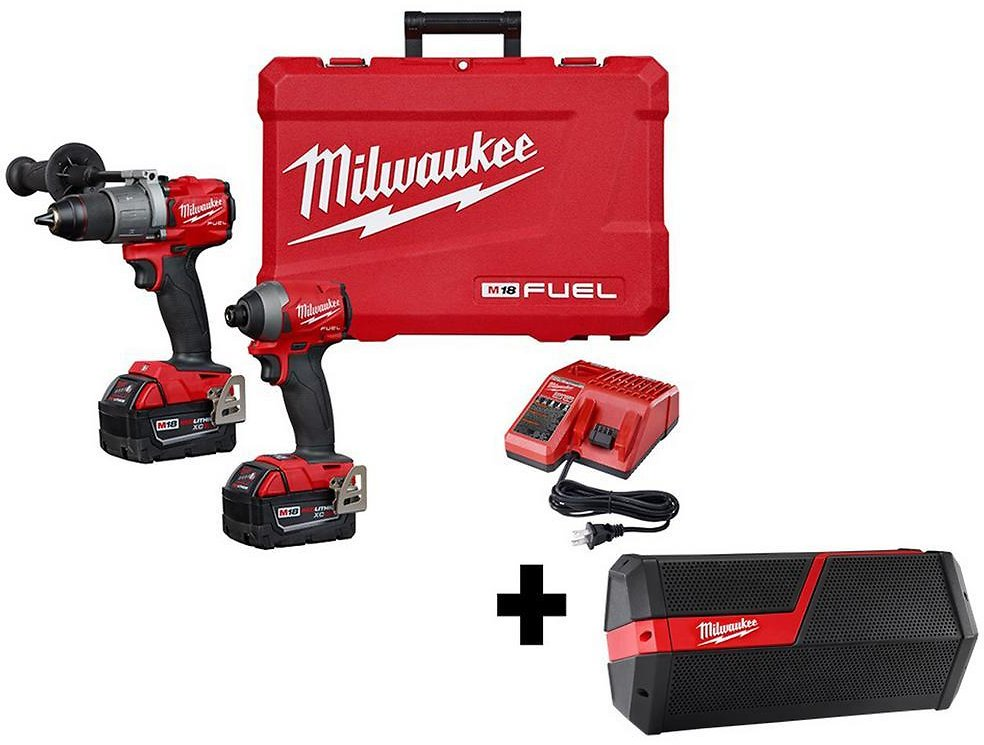 Milwaukee M18 FUEL 18-Volt Lithium-Ion Brushless Cordless Hammer Drill & Impact Driver Combo Kit (2-Tool) w/ Free Jobsite Speaker-2997-22-2891-20