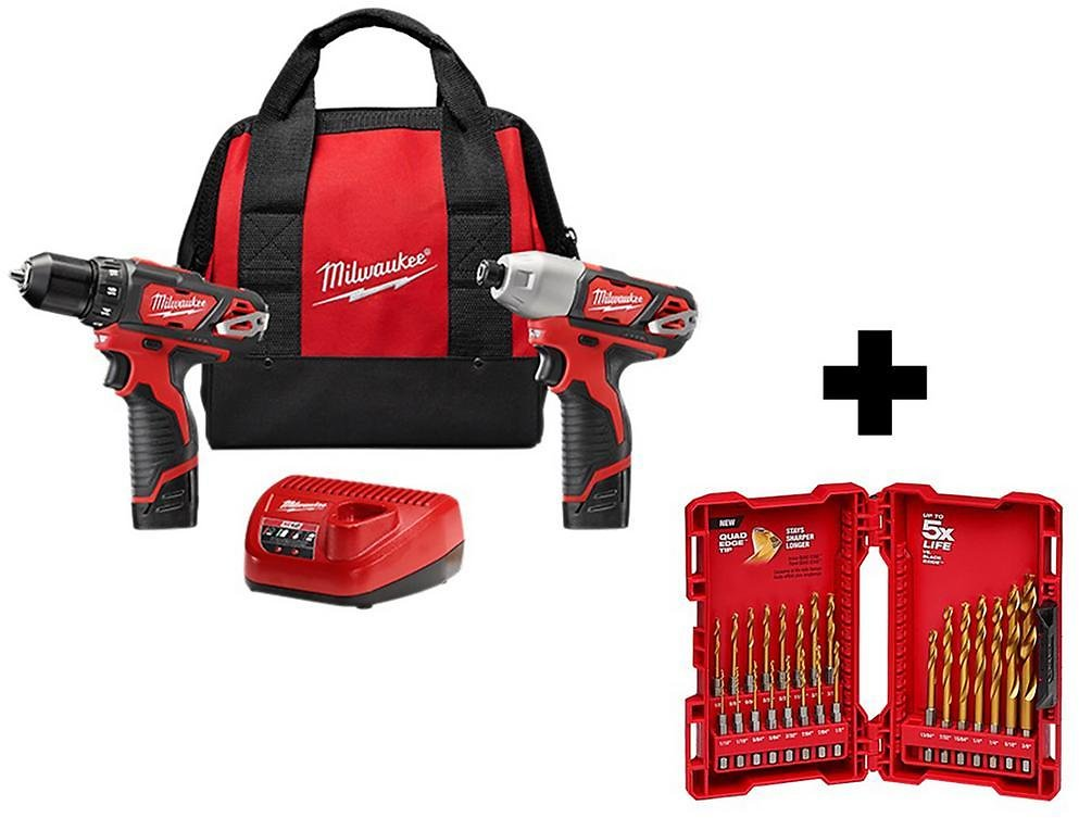 Milwaukee M12 12-Volt Lithium-Ion Cordless Drill Driver/Impact Driver Combo Kit (2-Tool) with Titanium Drill Bit Set (23-Piece)-2494-22-48-89-4631