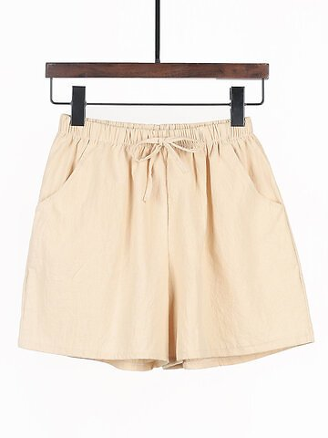 Solid Color Elastic Waist Drawstring Plus Size Loose Shorts with Pockets