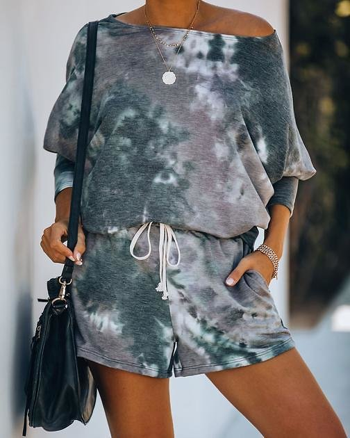 Coast Filled Of Fog Pocketed Tie Dye Knit Shorts - FINAL SALE