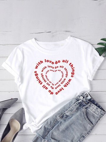 Love Print O-neck Short Sleeve Plus Size Casual T-shirt for Women