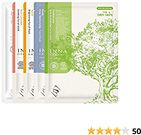 Inna Organic BEST OF INNA, Anti-aging, Deep Hydration, Brightening, Soothing, Luxury Clean Beauty, Home SPA, EWG and COSMOS Certified, Pack of 5