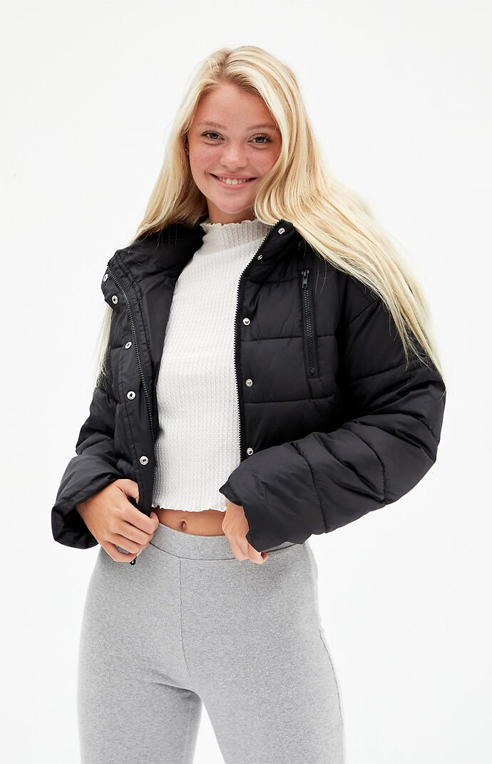 LA Hearts Black Hooded Puffer Jacket