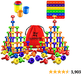 Stacking Peg Board Set Toy | JUMBO PACK | 60 Pegs & Board + FREE Stacking Cups + FREE Colorful Board + FREE Storage Bag | STEM Color Learning Montessori Occupational Therapy Fine Motor Skills Toddlers