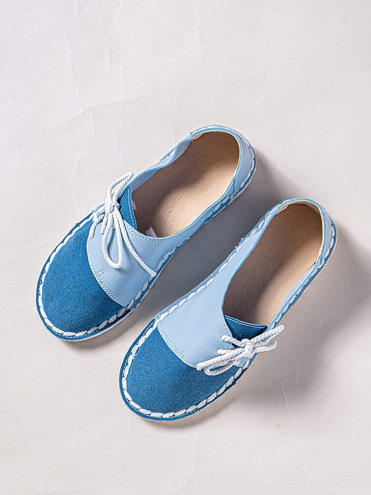 LOSTIST Large Size Women Casual Soft Splicing Lace Up Flat Loafers