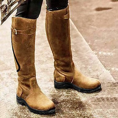 Women's Boots Riding Boots Flat Heel Round Toe Knee High Boots Vintage Daily PU Buckle Solid Colored Black Yellow Blue