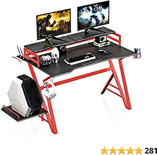 VIPEK Gaming Desk Home Office Computer Table Carbon Fiber Surface Heavy Duty Steel Frame Ergonomic Game Table with Monitor Stand, CPU Holder, Headphone Hook, Router Holder and Cup Holder 47 Inch